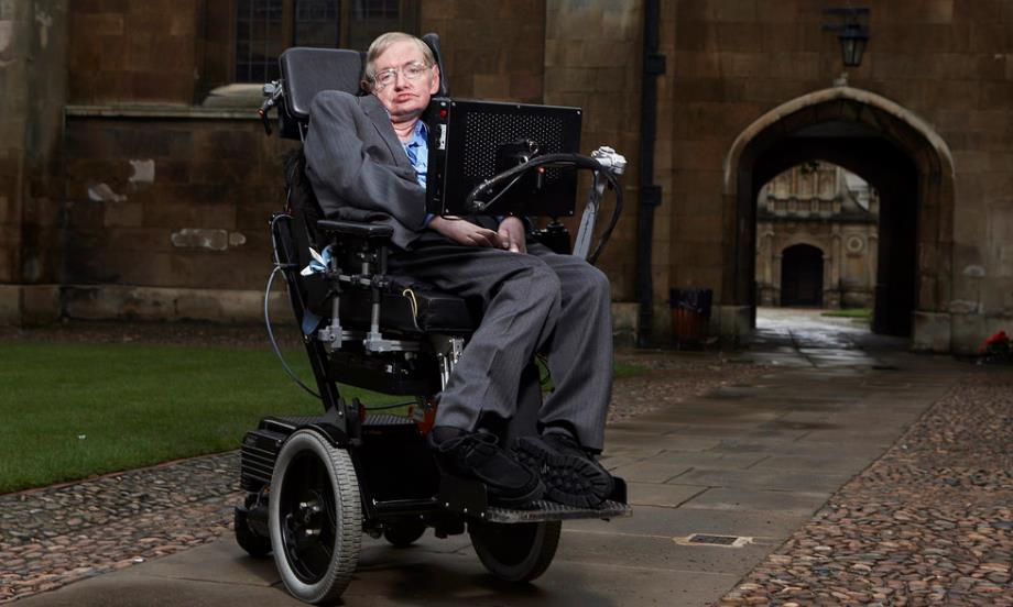 Stephen Hawking na wózku inwalidzkim