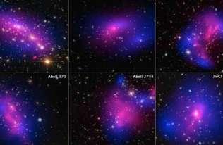 Rozmieszczenie ciemnej materii (na niebiesko) w sześciu gromadach galaktyk