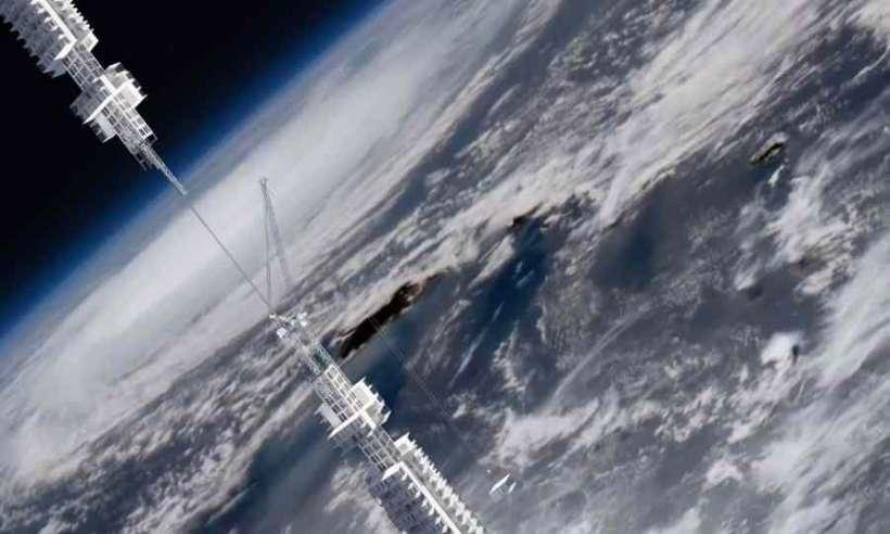 Wieżowiec wiszący na asteroidzie