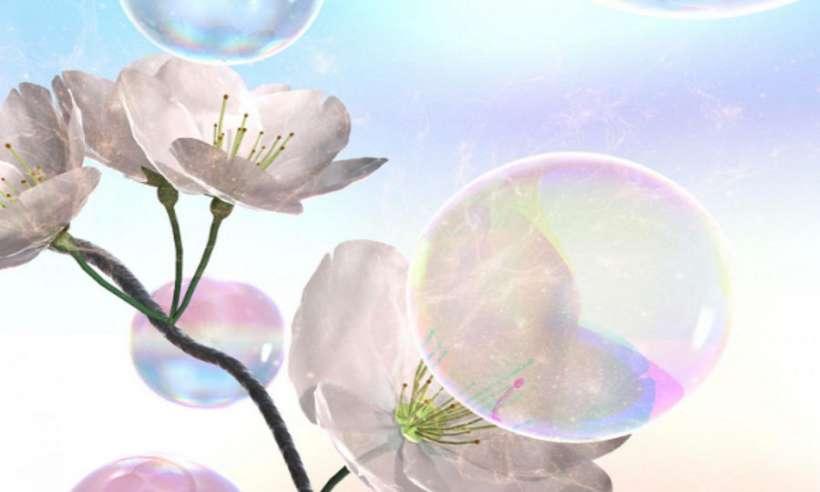 Bańki mydlane zapylające kwiaty