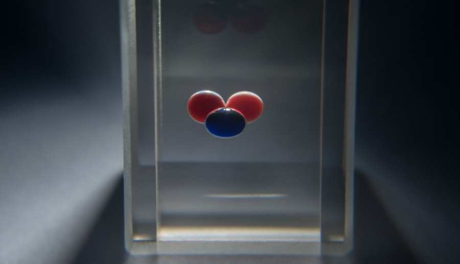 Chit - chemiczny bit. Układ trzech kropel, między którymi krążą fronty chemiczne