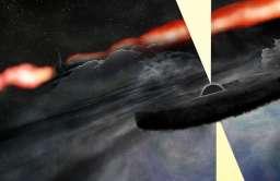 Wizja artystyczna czarnej dziury krążącej wokół centralnej, supermasywnej czarnej dziury w galaktyce Cygnus A
