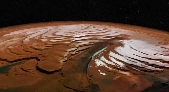 Czapa polarna na północnym biegunie marsa