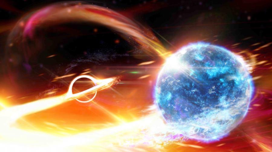 Czarna dziura pochłaniająca gwiazdę