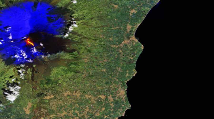 Wulkan Etna widziany z kosmosu