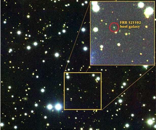 Lokalizacja na mapie nieba sygnału FRB 121102