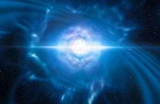 Artystyczna wizja zderzenia dwóch gwiazd neutronowych