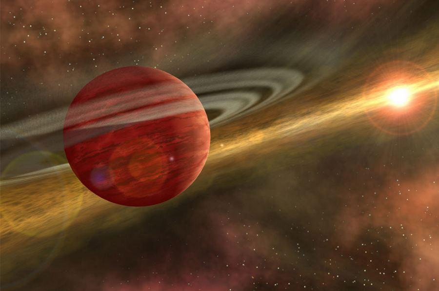 młoda egzoplaneta