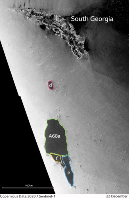 Góra lodowa A68A podzieliła się na mniejsze kawałki