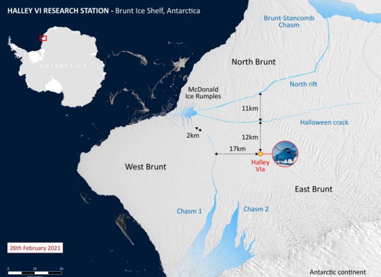 Od Lodowca Szelfowego Brunta na Antarktydzie oderwała się ogromna góra lodowa