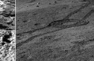 Ślady łazika Yuyu 2 na niewidocznej stronie Księżyca