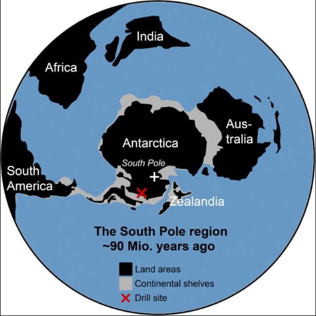 Mapa rozmieszczenia kontynentów 90 milionów lat temu