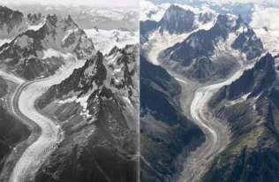 Zdjęcia lotnicze pokazują 100 lat utraty lodu w masywie Mont Blanc