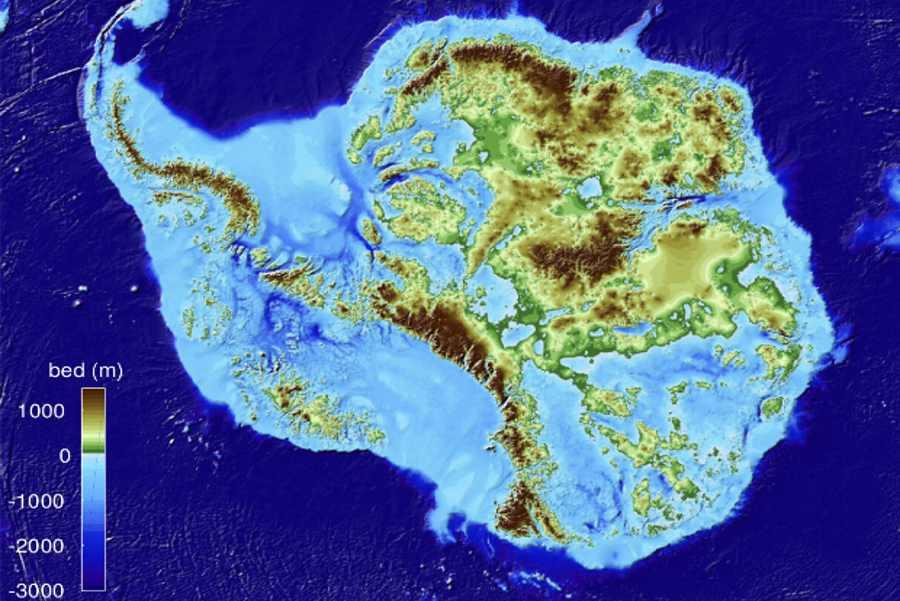 Mapa Antarktydy bez lodu