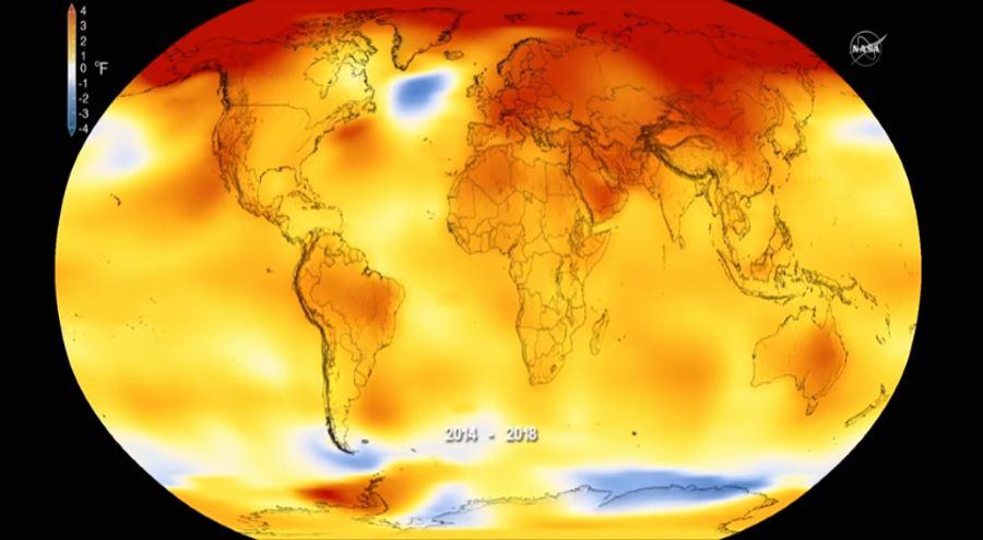Mapa globalnych temperatur za 2018 rok