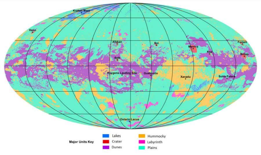 Pierwsza mapa geologiczna największego księżyca Saturna - Tytana