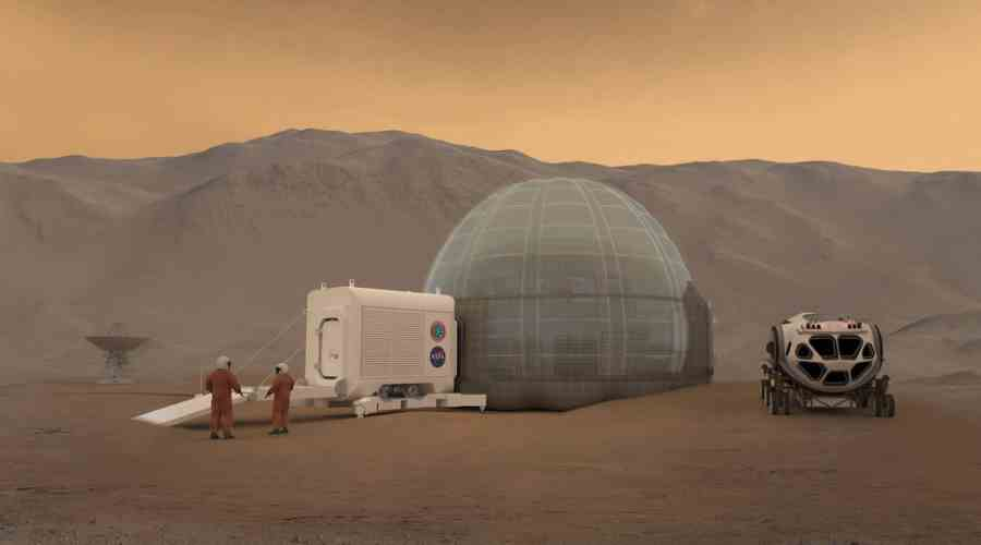 Wizualizacja bazy na Marsie w kształcie igloo