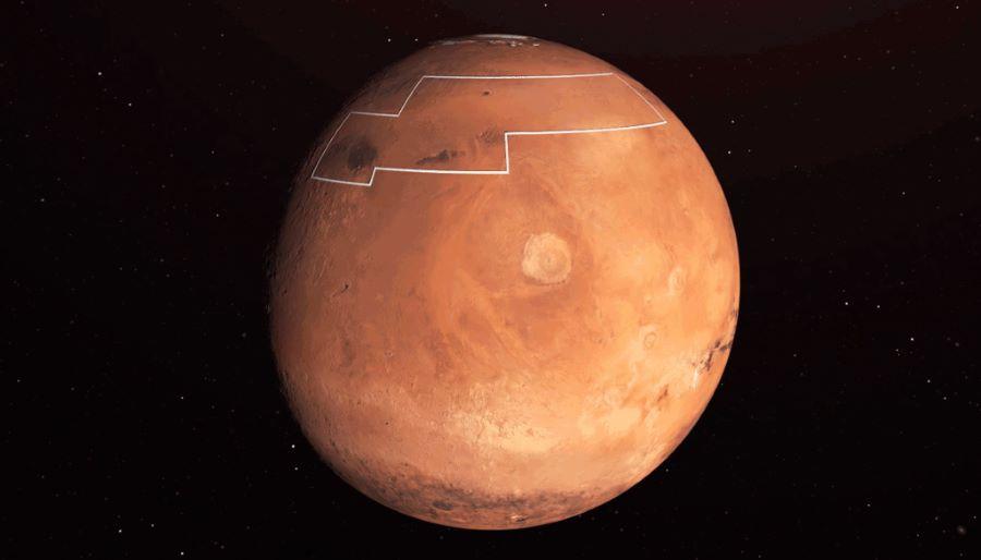 Mapa lodu na Marsie