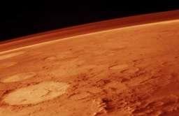Usiana kraterami powierzchnia Marsa widziana z kosmosu