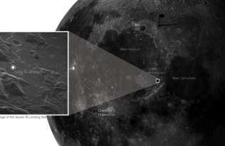Miejsce lądowania misji Apollo 15 - pierwsze tak dokładne zdjęcie powierzchni Księżyca zrobione z Ziemi