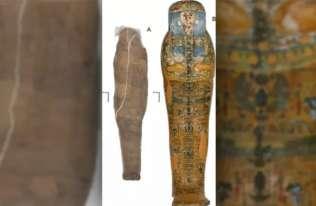 Starożytna egipska mumia otoczona skorupą z błota