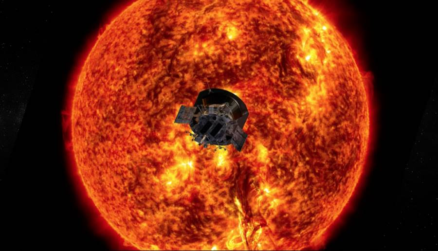 Sonda Parker Solar Probe na tle Słońca