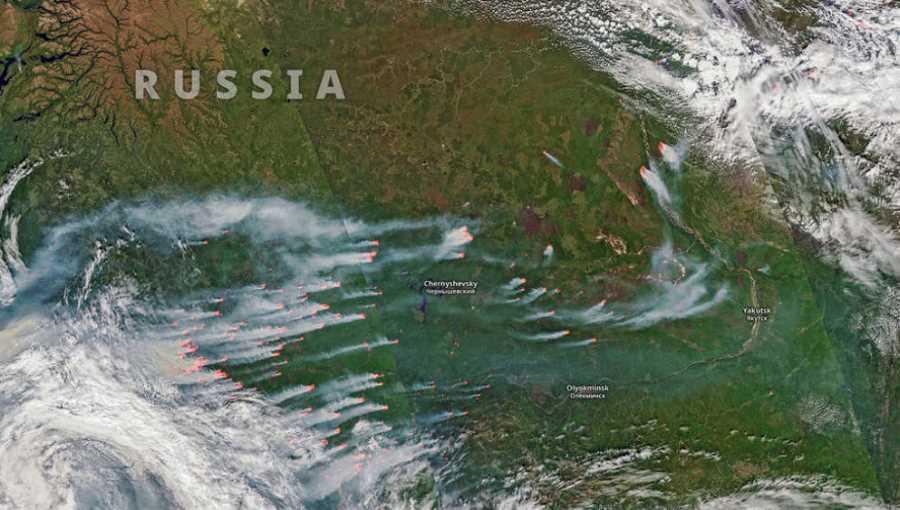 Pożary na Syberii widziane z przestrzeni komicznej