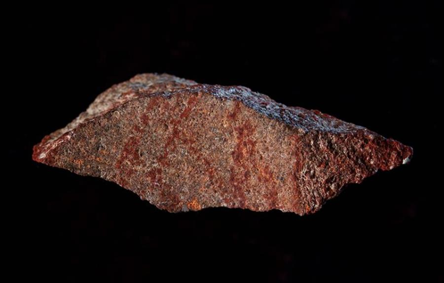 Kawałek skały zawierający najstarszy znany rysunek człowieka