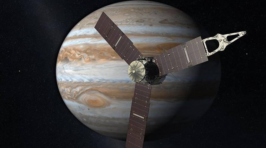 Sonda Juno na tle planety Jowisz