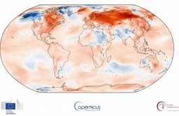 Mapa temperatur na świecie ze stycznia 2020