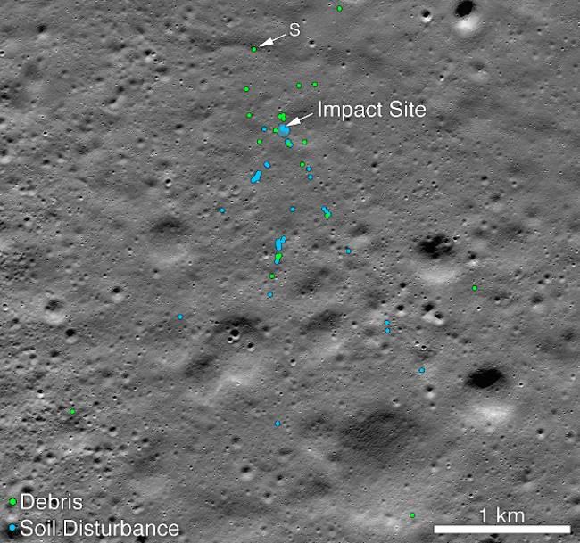Szczątki lądownika Vikram na Księżycu