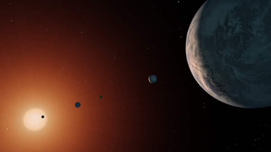 Artystyczna wizja planet układu TRAPPIST-1