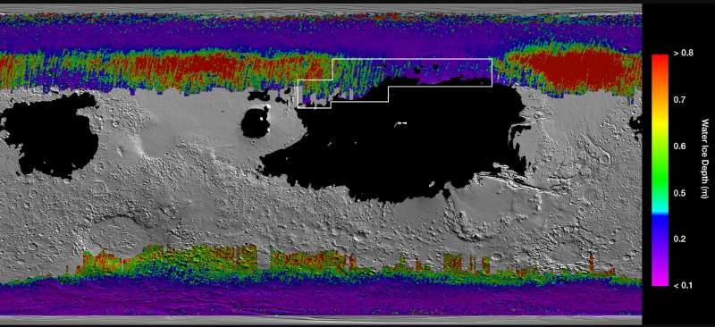 Mapa Marsa pokazująca występowanie lodu