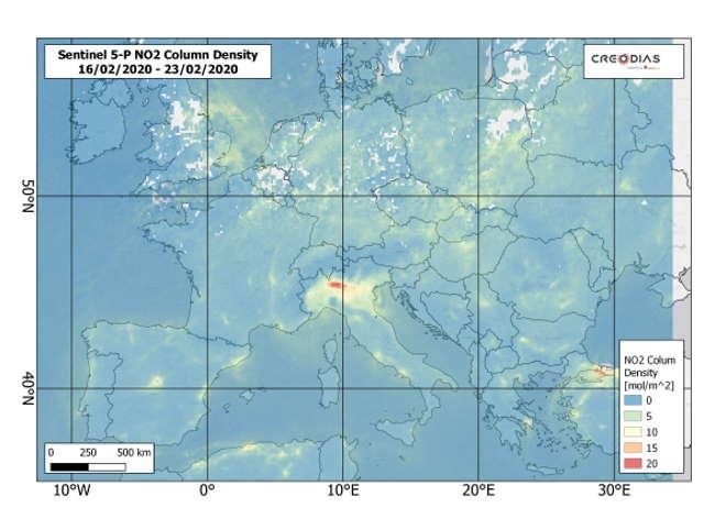 Koronawirus. Zanieczyszczenie dwutlenkiem azotu w Europie w lutym