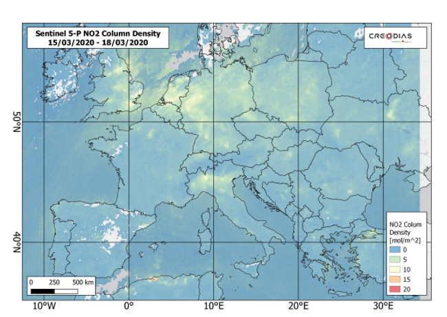 Koronawirus. Zanieczyszczenie dwutlenkiem azotu w Europie w marcu