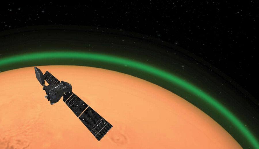 zielona poświata wokół Marsa