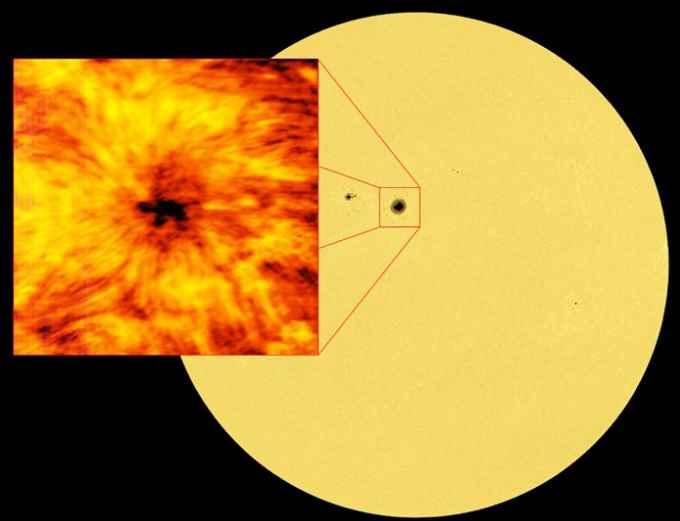 Obraz całego Słońca wykonany na długości fali 617,3 nm. Fot. ALMA/ESO/NAOJ/NRAO