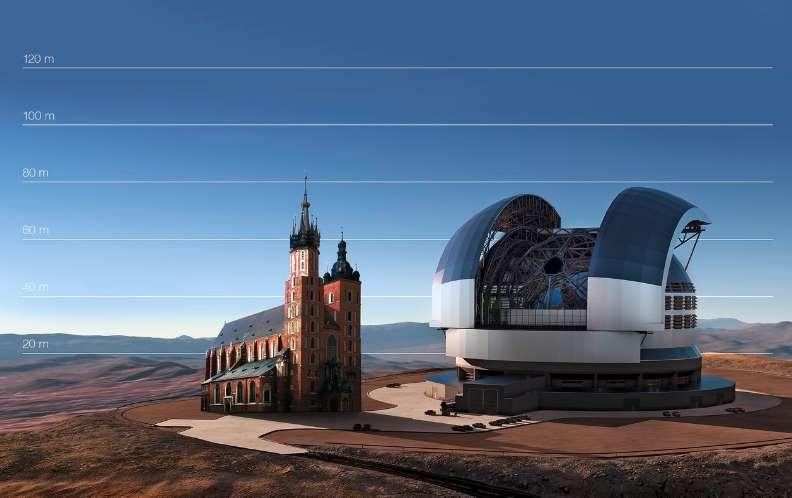 Porównanie wielkości E-ELT i Kościoła Mariackiego. Fot. ESO
