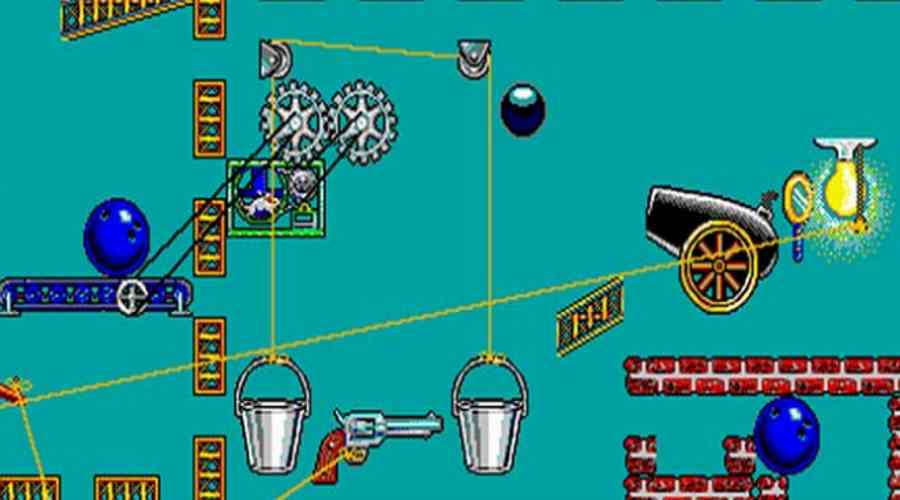 Screen z kultowej gry logicznej The Incredible Machine, która opiera się na podobnych zasadach, co konkurs UJ.