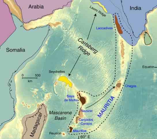 Mapa pokazująca w przybliżeniu położenie Mauritii. Fot. University of the Witwatersrand